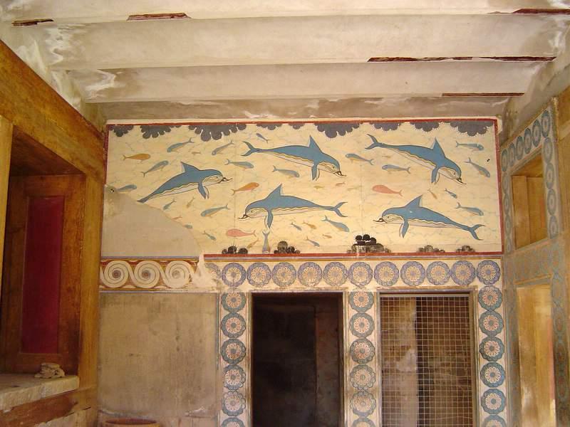 Greek art knossos palace frescoes for Dolphin mural knossos